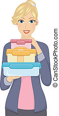 Food Containers - Illustration Featuring a Woman Carrying a...