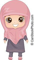 Illustration Featuring a Woman Wearing a Muslim Dress