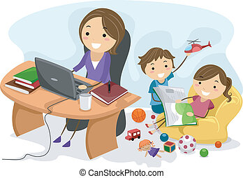 Working Mom - Illustration Featuring a Working Mom