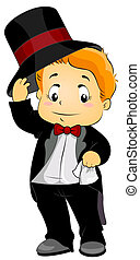 Formal Attire - Illustration Featuring a Young Boy Wearing...
