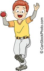 Cricket Bowler - Illustration Featuring a Young Cricket ...