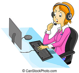 Call Center Agent - Illustration Featuring an Angry Call...