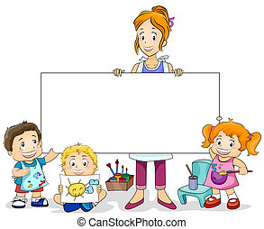 Illustration Featuring an Art Class for Kids and a Blank Board