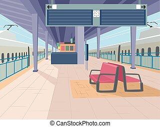 Train Station - Illustration Featuring an Empty Train...