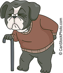 Old Dog - Illustration Featuring an Old Dog Walking Around...