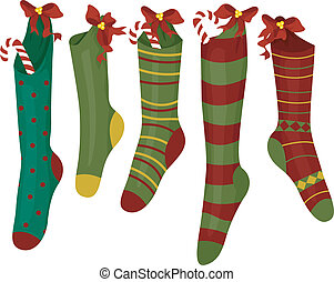 Christmas Socks - Illustration Featuring Colorful Christmas...