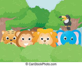 Safari Animals - Illustration Featuring Cute Safari Animals
