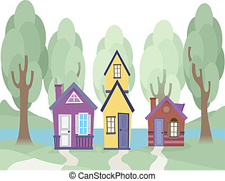 Tiny Houses - Illustration Featuring Cute Tiny Houses