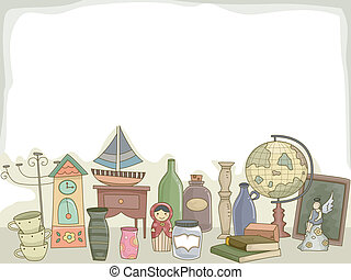 Illustration Featuring Different Collectibles for Hobbyists