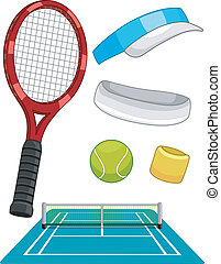Lawn Tennis Items - Illustration Featuring Different Lawn...