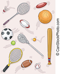Sports Equipment - Illustration Featuring Different Sports...