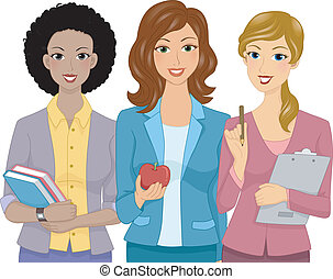Female Teachers - Illustration Featuring Female Teachers