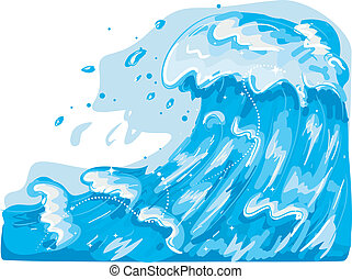 Sea Waves - Illustration Featuring Giant Sea Waves