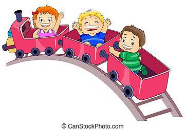 Park Ride - Illustration Featuring Kids Enjoying a Park Ride