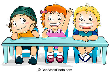 Kids in a Class - Illustration Featuring Kids in a Classroom