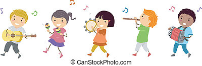 Music Parade - Illustration Featuring Kids in a Music Parade