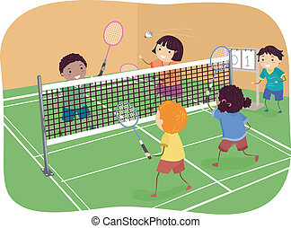 Illustration Featuring Kids Playing Badminton Doubles