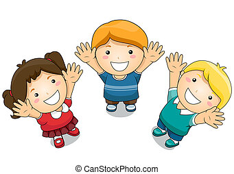 Kids Raising Their Hands - Illustration Featuring Kids...
