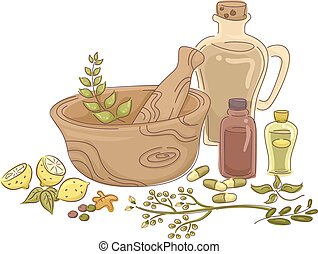 Illustration Featuring Materials for Making Homemade Herbal Medicine