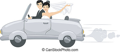 Bridal Car - Illustration Featuring Newlyweds in a Bridal...