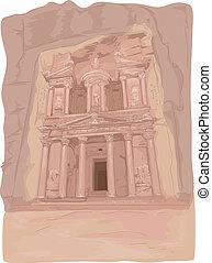 Al Khazneh - Illustration Featuring the Al Khazneh Temple in...