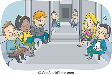 Illustration Featuring the Passengers of a Subway Train