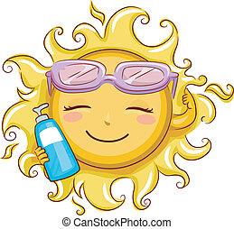 Sun Holding a Sunblock Lotion