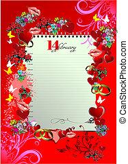 illustration., fedő, köszönés, valentine s, vektor, nap, card.