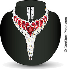 female necklace and earrings with red precious stones -...