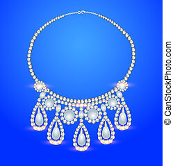 female necklace with pearls on a blue background -...