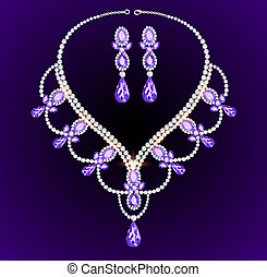 feminine vintage necklace with large precious stones -...