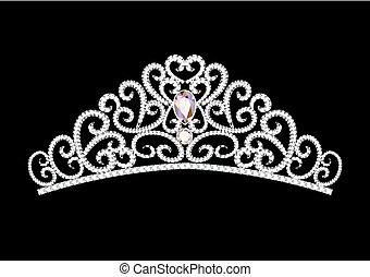 illustration feminine wedding diadem crown on black