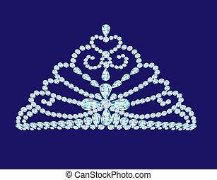 feminine wedding diadem crown on blue