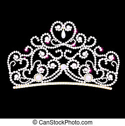 feminine wedding diadem on black background - illustration...