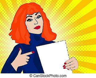 illustration, femme, art, pop, points, retro, vide, template.