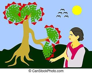 illustration., femme, forêt, toucher, fleurs, dessin animé