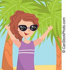 illustration, femme, lunettes soleil, images, moments famille, jeune, photo, membres, contre, vecteur, palmiers, mer, portrait, vacances, plage, mieux, heureux