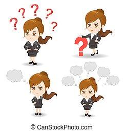 illustration, femme, question, dessin animé, business