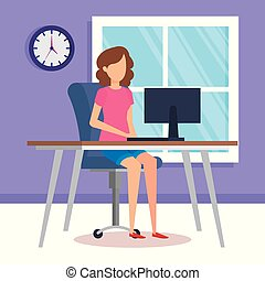 illustration, femme, vecteur, bureau, fonctionnement