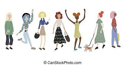 illustration, femmes, debout, danse, style, courant, shopping., vecteur, foule, chien, plat, marche, dessin animé