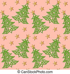 illustration festive background with Christmas tree of Celtic weave pattern