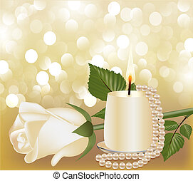 festive background with white rose, pearl by candle