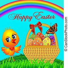 illustration festive basket with painted egg and chicken