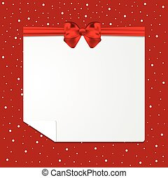illustration., festivo, arco, snow., vetorial, cartão vermelho