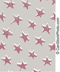 illustration., festlig, mönster, seamless, hand, stars., vektor, bakgrund., oavgjord, sjal