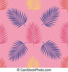 illustration., feuilles, pattern., seamless, exotique, clair, vecteur, paume
