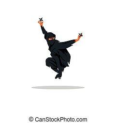 illustration., fighter., assasin, vector, aziaat, ninja,...