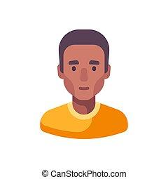 illustration, figure, mâle, homme, avatar, américain, icon., africaine, plat