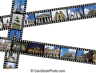 Brussels - Illustration - film strips with travel memories. ...