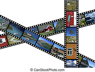 Illustration - film strips with travel photos. Fjords and landscapes in Norway, Scandinavia. All photos taken by me.